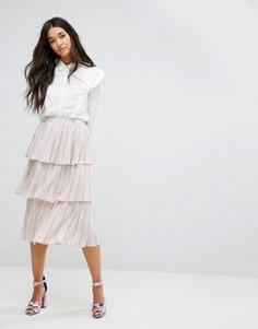Многоярусная плиссированная юбка Lost Ink - Розовый