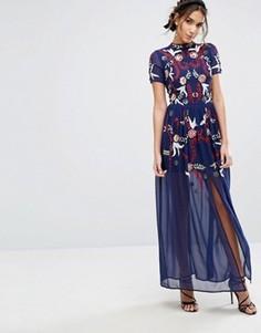 Платье макси с пайетками Frock & Frill - Синий