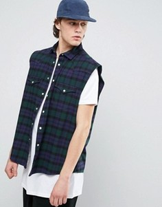 Темно-синяя клетчатая oversize-рубашка в стиле вестерн без рукавов ASOS - Темно-синий