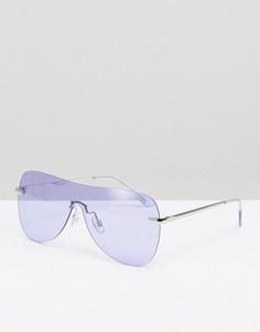 Солнцезащитные очки-маска в стиле ретро с сиреневыми стеклами ASOS - Серебряный