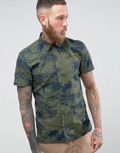 Зеленая рубашка милитари с короткими рукавами и гавайским принтом Schott Isla - Зеленый