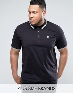 Облегающая футболка-поло с окантовкой Le Breve PLUS - Черный