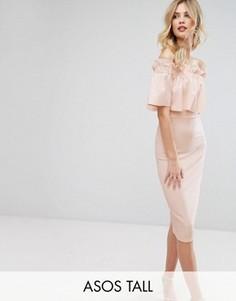 Креповое платье-бандо миди с оборкой ASOS TALL - Розовый