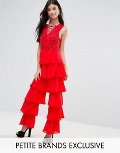 Комбинезон с ярусной отделкой и шнуровкой Maya Petite - Красный