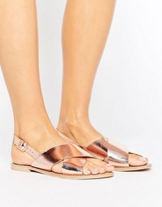 Кожаные сандалии цвета розового золота Faith - Золотой