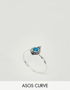 Серебряное кольцо с бирюзовым камнем ASOS CURVE - Серебряный