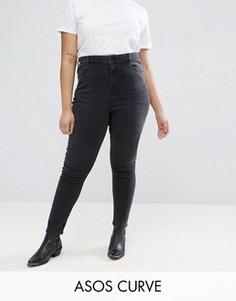 Черные выбеленные джинсы скинни с завышенной талией ASOS CURVE RIDLEY - Черный