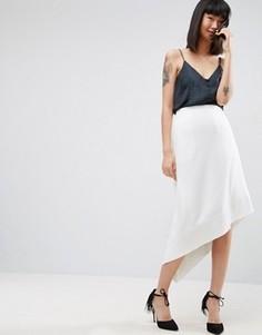 Асимметричная юбка-трапеция ASOS WHITE - Белый