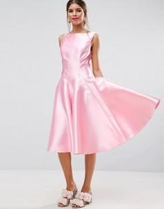 Платье миди для выпускного с юбкой годе ASOS SALON - Розовый