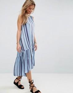 Свободное платье-трапеция миди из ткани добби в полоску ASOS - Мульти