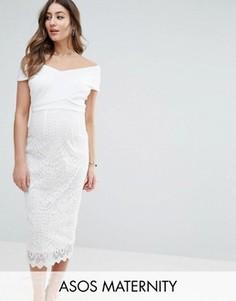 Платье миди с бретелями крест-накрест и кружевами ASOS Maternity - Белый