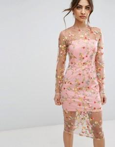 Прозрачное платье миди с вышивкой PrettyLittleThing - Розовый