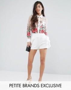 Шорты с оборкой Fashion Union Petite - Белый