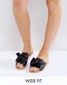 Сандалии для широкой стопы на плоской подошве с бантом Park Lane - Черный