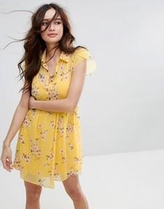 Чайное платье с цветочным принтом Abercrombie & Fitch - Желтый