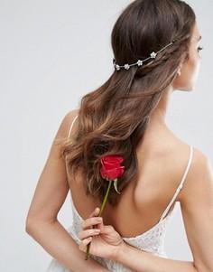 Украшение для волос с цветочной отделкой и стразами ASOS WEDDING - Серебряный