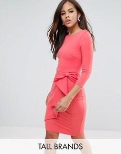 Платье-футляр с каскадной драпировкой City Goddess Tall - Розовый