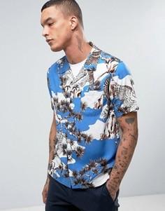 Рубашка с принтом Stussy - Синий