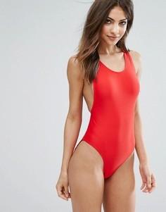 Слитный купальник с высоким вырезом на бедрах Missguided - Красный