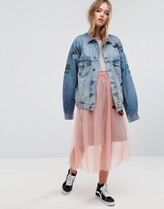 Джинсовая куртка унисекс с вышивкой ASOS X LOT STOCK & BARREL - Синий