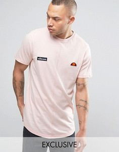 Удлиненная футболка с эффектом кислотной стирки Ellesse - Розовый