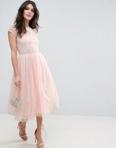 Платье миди для выпускного из кружевного тюля ASOS PREMIUM - Розовый