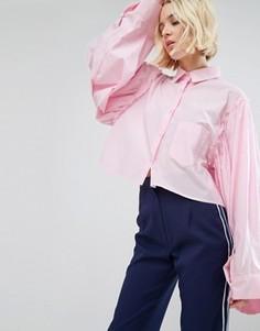 Укороченная рубашка с расклешенными рукавами и необработанным краем STYLENANDA - Розовый