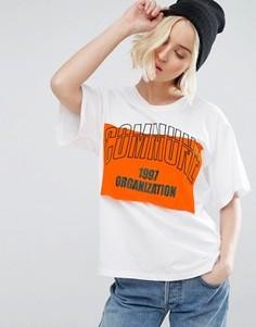 Oversize-футболка с нашивкой и вышивкой STYLENANDA - Белый