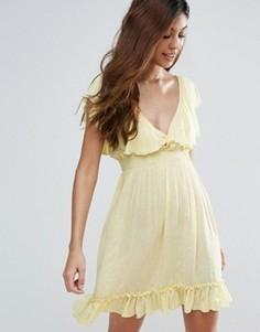 Чайное платье в горошек Liquorish - Желтый