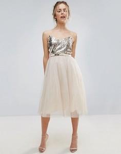 Платье для выпускного с отделкой Little Mistress - Кремовый