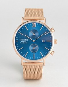 Розово-золотистые часы с сетчатым браслетом и циферблатом Reclaimed Vintage Inspired - Золотой