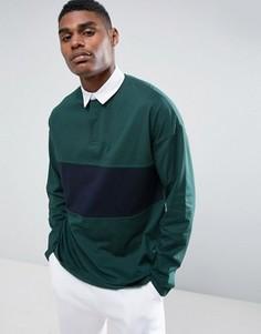 Зеленая oversize-футболка поло с длинными рукавами и контрастной вставкой ASOS - Зеленый