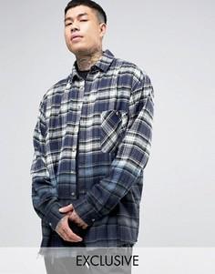 Фланелевая рубашка в крупную клетку с эффектом деграде Reclaimed Vintage Inspired - Темно-синий