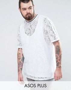 Белая длинная кружевная футболка ASOS PLUS - Синий
