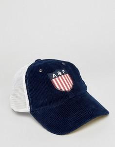 Темно-синяя бейсболка с логотипом-нашивкой Abercrombie & Fitch - Темно-синий