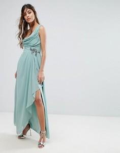 Платье макси на одно плечо с отделкой на талии Little Mistress - Зеленый