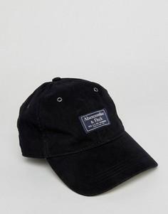Черная саржевая кепка с логотипом-накладкой Abercrombie & Fitch - Черный