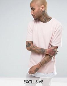 Розовая oversize-футболка из вафельного трикотажа Puma эксклюзивно для ASOS - Розовый