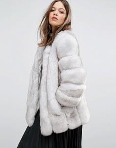 Куртка из искусственного меха с полосатой отделкой Jayley Luxurious - Кремовый