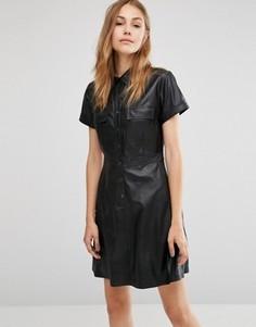 Платье-рубашка с короткими рукавами из искусственной кожи BCBGMAXAZRIA - Черный