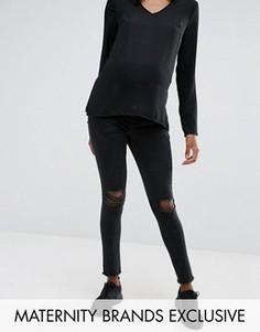 Черные джинсы для беременных с рваной отделкой Missguided Maternity - Черный