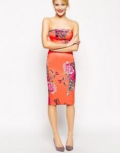 Платье-бандо с цветочным принтом ASOS - Мульти