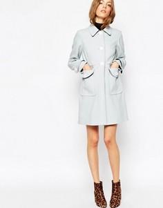 Свободное пальто с контрастными пуговицами ASOS - Синий