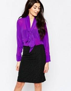 Рубашка с бантом‑завязкой и рукавами летучая мышь Liquorish - Фиолетовый