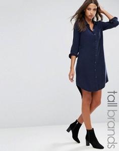 Джинсовое платье‑рубашка со шнуровкой на плечах Brave Soul Tall - Темно-синий