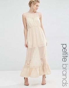 Платье макси с полупрозрачной вставкой Vero Moda Petite - Кремовый