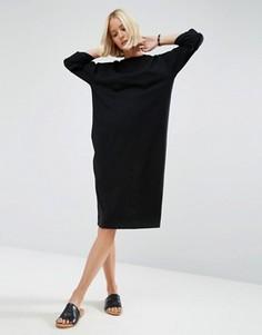 Хлопковое платье‑футболка миди с рукавами реглан и вырезом лодочкой ASOS - Черный