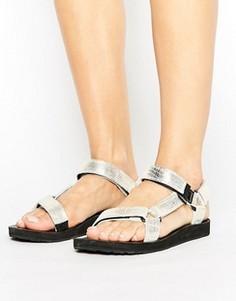 Кожаные сандалии цвета металлик Teva Original - Золотой