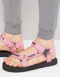 Розовые сандалии с надписью на ремешке ASOS - Розовый