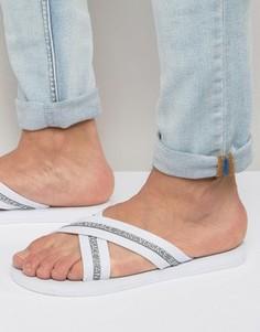 Шлепанцы с перекрестными ремешками и логотипом Versace Jeans - Белый